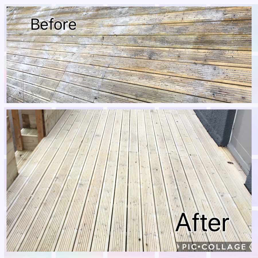 decking cleaner swindon before and after photos