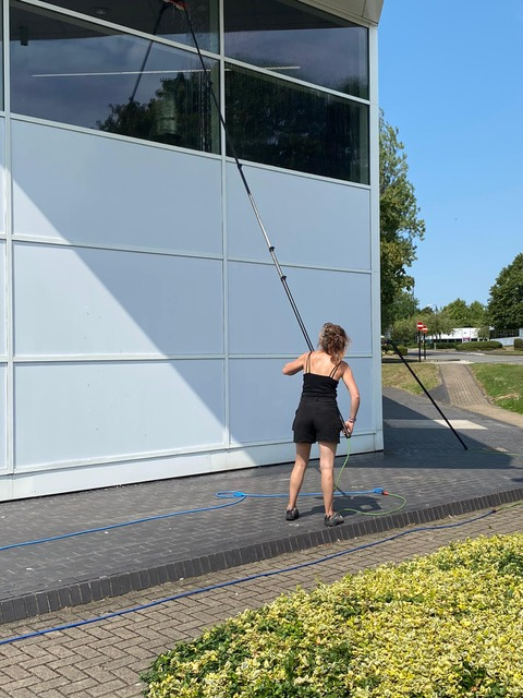 Pure Water with the latest water-fed pole equipment for window cleaning for tall businesses in swindon